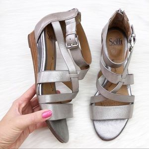 Sofft Rianna Leather Sandal in Metallic Anthracite